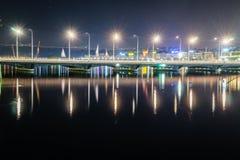 Ginebra en la noche, Suiza Fotos de archivo libres de regalías