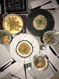 Ginebra, massa, risotto y ceviche Fotografía de archivo