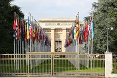 GINEBRA, SUIZA - 24 de julio de 2016 oficina de Naciones Unidas en Ginebra, Suiza La O.N.U fue establecida en Ginebra en 1947 y é imagen de archivo