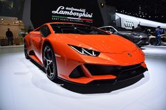 Ginebra, Suiza - 5 de marzo de 2019: El coche de Lamborghini Huracan EVO mostró en el 89.o salón del automóvil internacional de G fotos de archivo libres de regalías