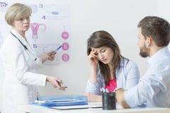 Ginecologo e donna confusa immagine stock