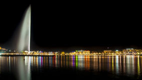 Ginevra entro Night Immagini Stock Libere da Diritti