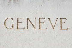 Ginevra firma in francese Fotografia Stock Libera da Diritti