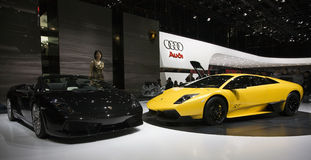 Ginevra Motorshow 2009 - basamento di Lamborghini Immagine Stock