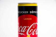Ginevra/Svizzera - 16 07 18: Possa liberamente dello zucchero dell'edizione del limone della coca-cola zero Immagine Stock Libera da Diritti