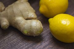 Ginger and 2 Lemon Fruit stock photography