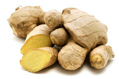 Ginger. (Zingiber officinale) on a white background Stock Photo