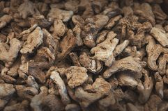 Dried ginger pile selected focus stock photo