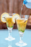 Ginger ale and lemon drink, in a garden, warm late afternoon light Stock Image