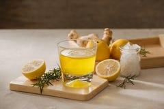 Ginger Ale ou Kombucha dans la bouteille - boisson probiotic organique faite maison de citron et de gingembre, l'espace de copie images libres de droits