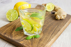 Ginger Ale Soda orgánico en un vidrio con el limón y la cal fotografía de archivo libre de regalías
