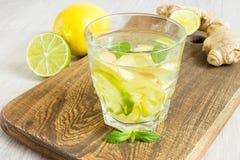 Ginger Ale Soda organique dans un verre avec le citron et la chaux images stock
