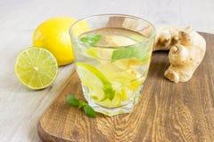 Ginger Ale Soda organique dans un verre avec le citron et la chaux photo libre de droits