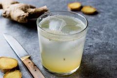 Ginger Ale Soda Tonic organique dans de verre préparent pour boire photo libre de droits