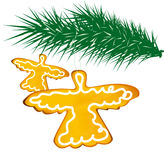 Ginger angels. Two ginger angels on fir tree on white background Stock Photography