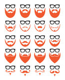 Ginger beard and glasses, hipster icons set. Different styles on red or ginger beard icons set isolated on white Royalty Free Stock Images