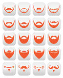 Ginger beard with moustache or mustache vector icons set Stock Image