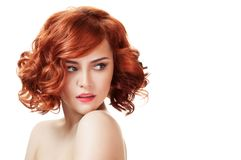 Ginger beautiful woman. Perfect red hair. royalty free stock photo