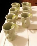 Ginger Beer Cups With Salted Rim With Lime Slice Arkivbilder