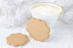 Ginger biscuits, cup of cappuccino Royalty Free Stock Photography