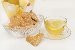 Ginger biscuits and a cup of green tea Stock Image
