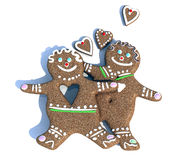 Ginger biscuits in love. Ginger biscuits figure man and woman in love, 3d illustration Royalty Free Stock Photo