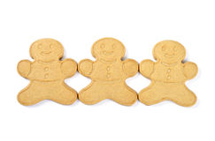Ginger Boy Cookies Isolated on White Stock Photos