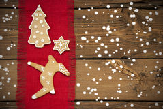 Ginger Bread Background with Snow Royalty Free Stock Image