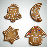 Ginger bread bell half moon and house Royalty Free Stock Images