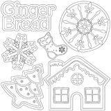 Ginger bread black and white poster - house, shoe, xmas tree, snowflake. Coloring book page for adults and kids. Winter holiday vector illustration for Stock Photos
