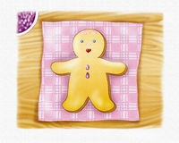 Ginger bread boy. A sweet ginger bread boy on a wood table. Digital illustration with canvas texture vector illustration