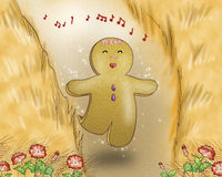 Gingerbread boy singing Stock Photography