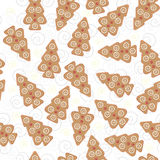 Ginger bread Christmas tree seamless pattern Stock Images