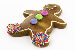 Ginger bread cookie man. Isolated Royalty Free Stock Photography