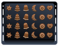 Ginger Bread Cookies Baking Plate Stock Photo