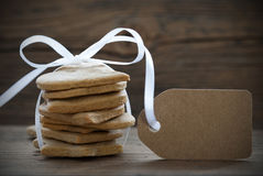 Ginger Bread Cookies with Empty Label Royalty Free Stock Photo