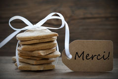 Ginger Bread Cookies with Merci Label Stock Images