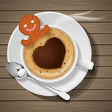 Ginger bread in cup of hot coffee Stock Images