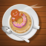 Ginger bread with doughnut in cup of hot coffee. Ginger bread floating with doughnut in cup of hot cappuccino with steam on wood background vector illustration