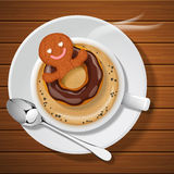 Ginger bread with doughnut in cup of hot coffee. Ginger bread man floating with chocolate doughnut in cup of hot cappuccino with steam on wood background royalty free illustration