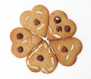 Ginger bread hearts. Isolated on white background royalty free stock images