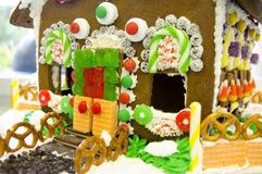 Ginger Bread house. Close up the door to a gingerbread house royalty free stock photo