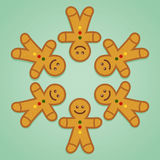 Ginger Bread Man Holding Hands im Kreis Stockbild