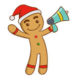 Ginger Bread Man Holding A Loud Speaker Royalty Free Stock Images