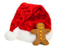 Ginger Bread Man and Santa Hat Stock Images