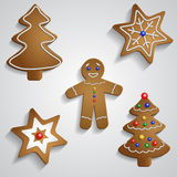 Ginger bread man tree and stars Royalty Free Stock Photo