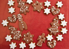 Ginger bread on red Stock Photo