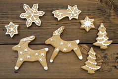 Ginger Bread Reindeers, Stars, Snowflakes and Trees Stock Photography