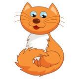 Ginger cartoon kitty, vector illustration of funny Royalty Free Stock Photos