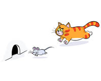Free Ginger Cat Chasing A Mouse Stock Photography - 72510012